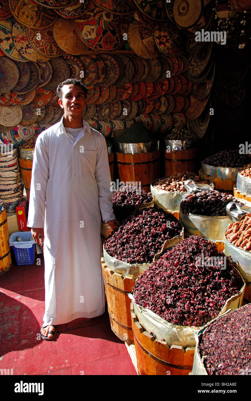 Aswan egypt a shop in aswan market selling dried hibiscus flowers a shop in aswan market selling dried hibiscus flowers used to prepare karkady hibiscus tea izmirmasajfo Images