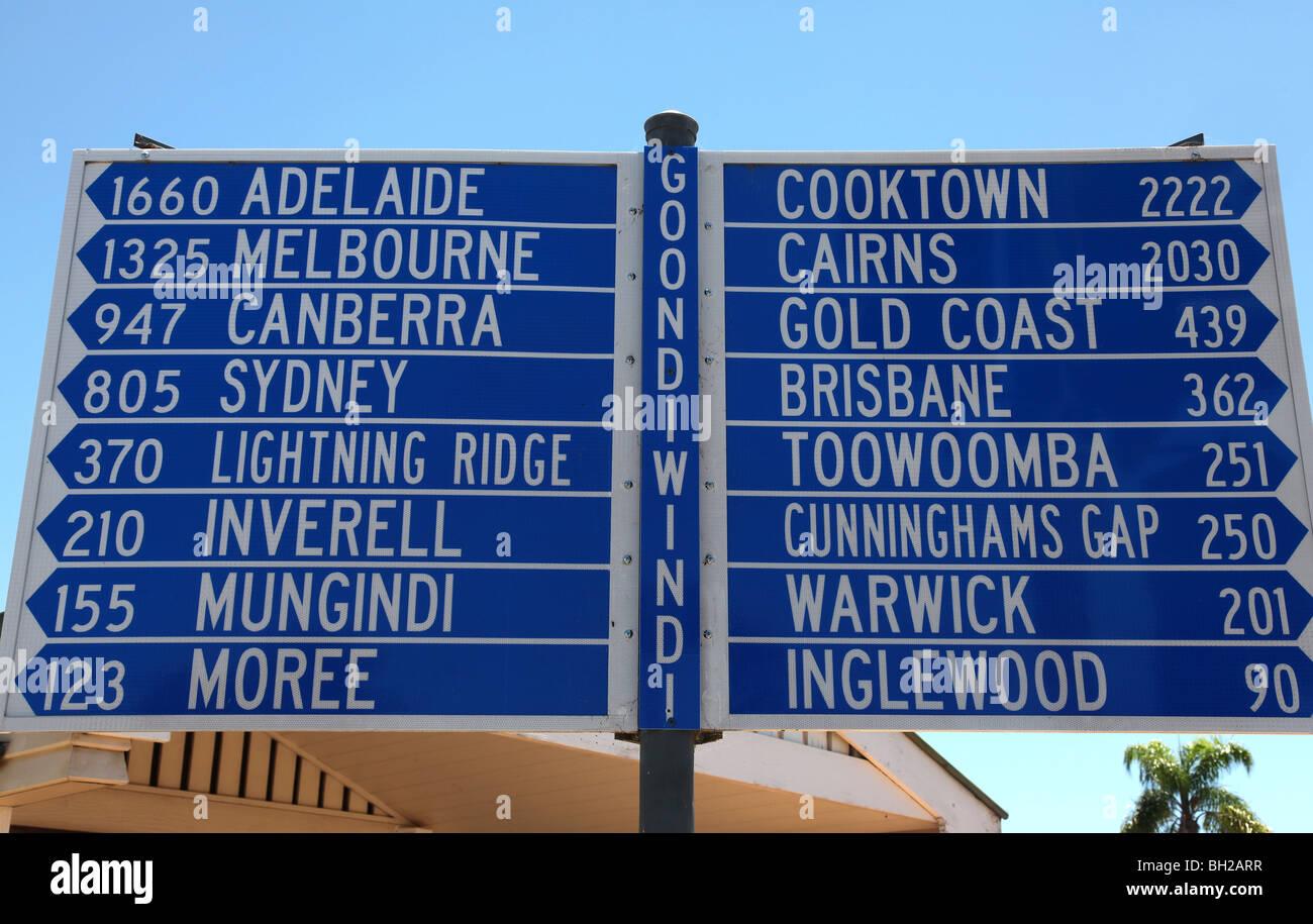 road sign Goondiwindi QLD Australia - Stock Image