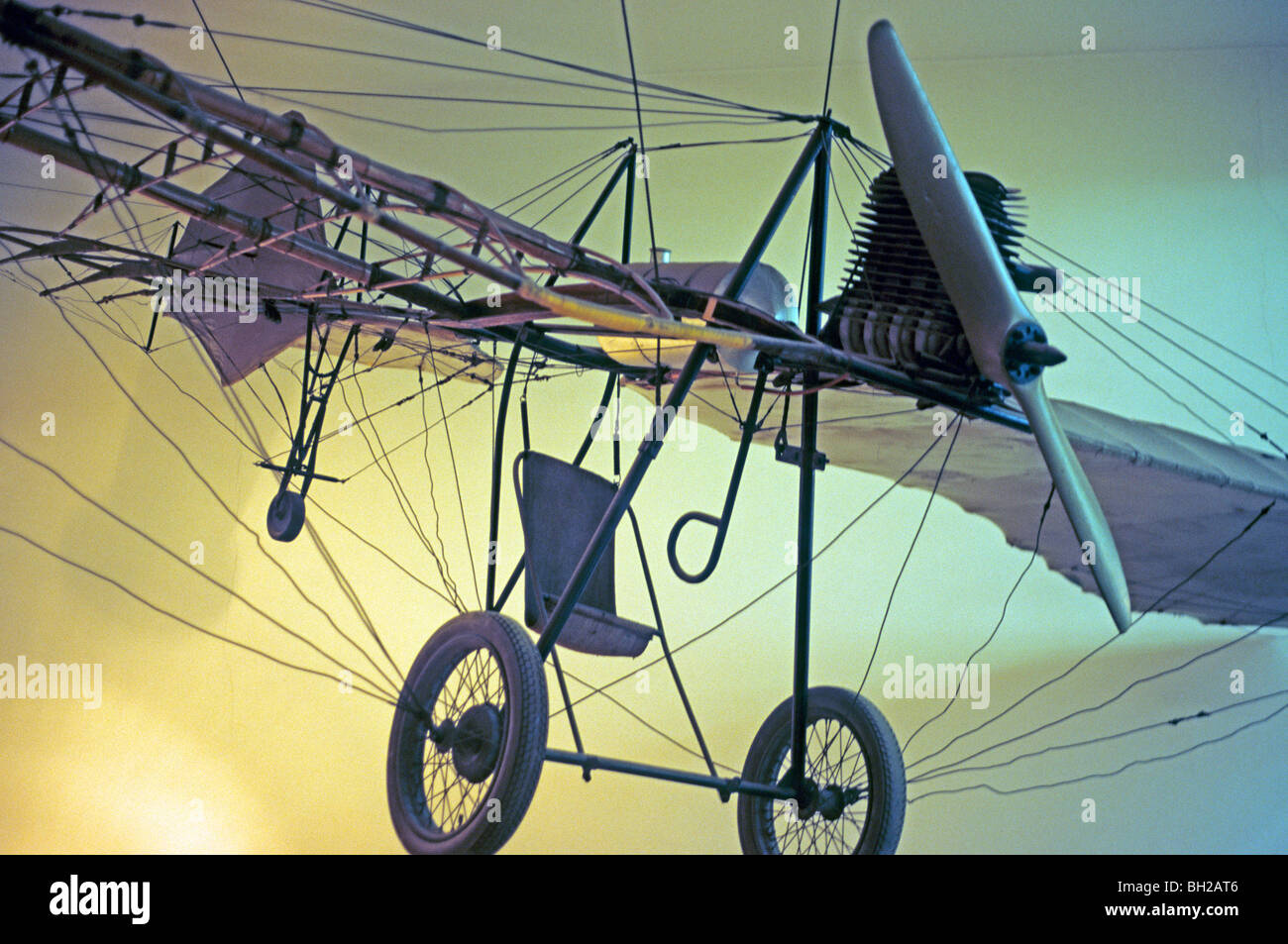 copy of the airoplane 'Libelle' (dragonfly) made by Hans Grade at the museum, Magdeburg, capital city of - Stock Image