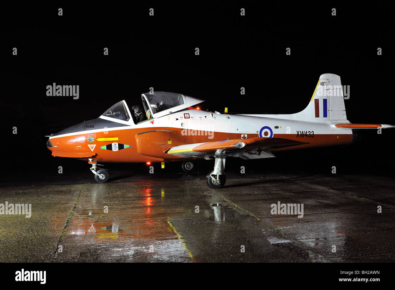 Vintage RAF Jet Provost training aircraft taxying in the dark during a vintage display at Coventry Airport, UK. - Stock Image