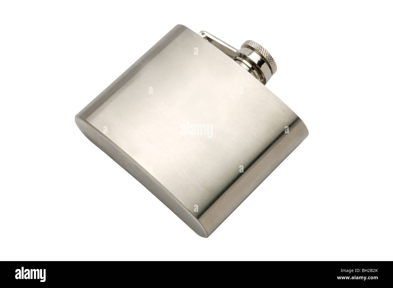 metal silver flask - Stock Image