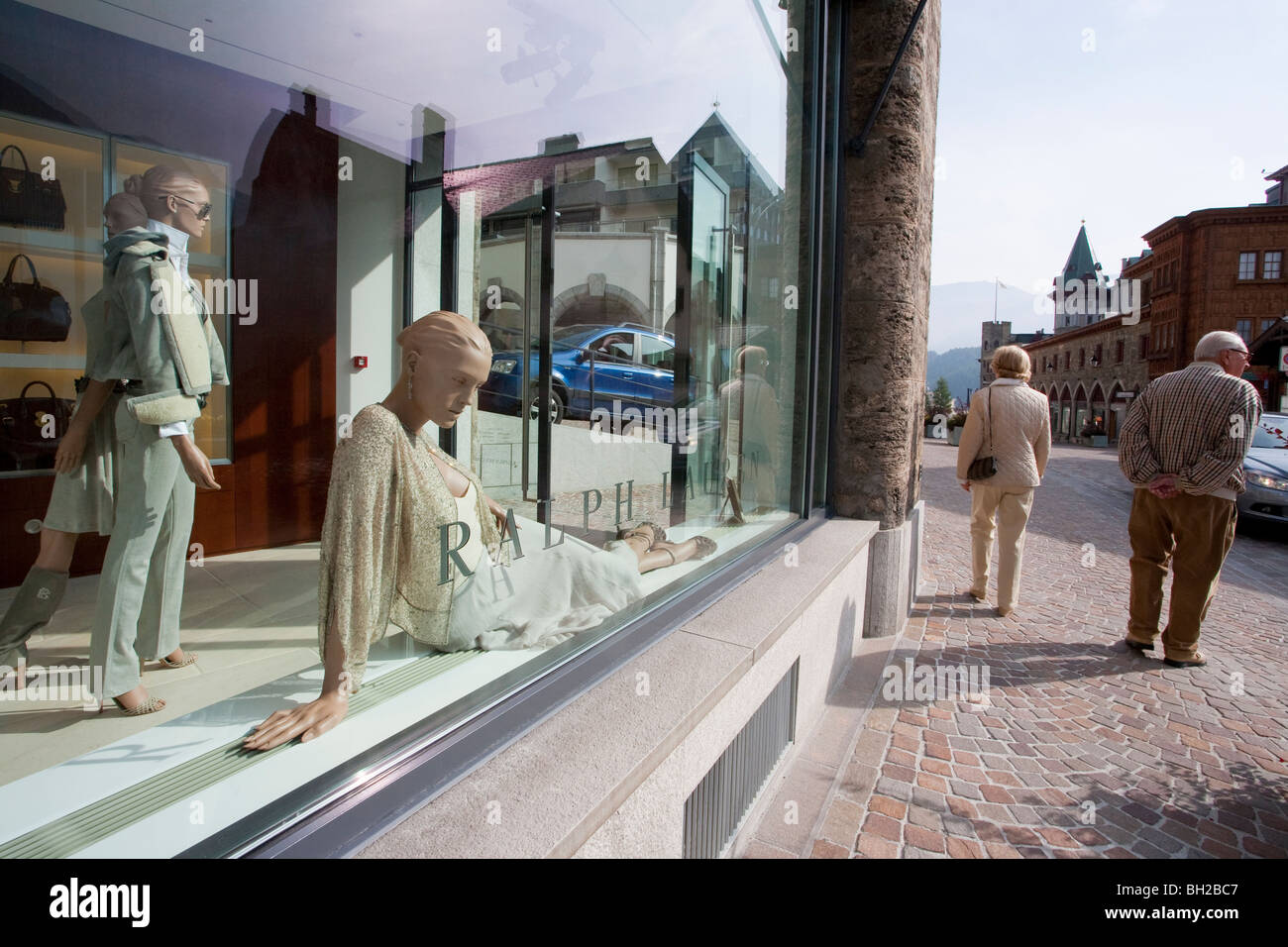 EXCLUSIVE BOUTIQUE, RALPH LAUREN, ST. MORITZ, UPPER ENGADIN, ENGADIN, GRISONS, SWITZERLAND - Stock Image