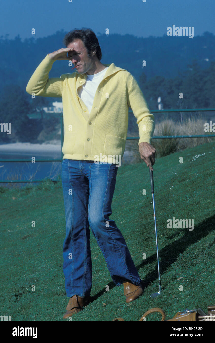 Movie star Clint Eastwood on golf course at Pebble Beach California in the late 1970s - Stock Image