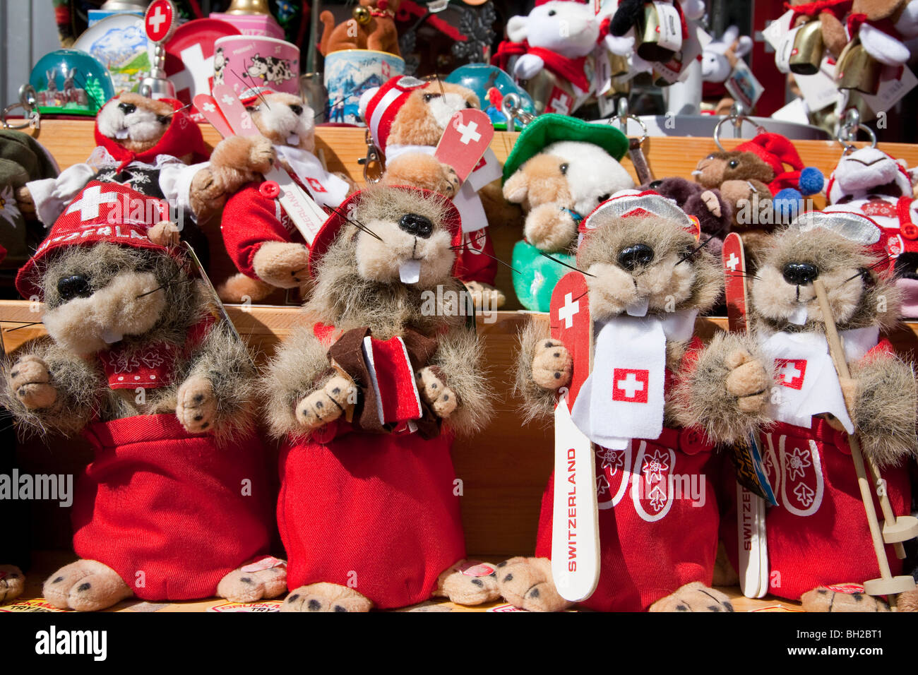 MARMOTS, STUFFED ANIMAL, COSTUMED AS SWISS, DAVOS, GRISONS, SWITZERLAND - Stock Image