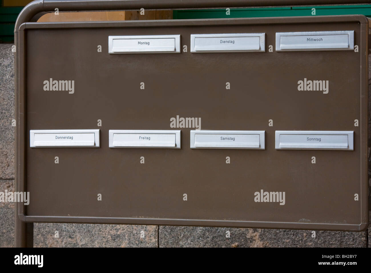 LETTER BOX, DAYS OF THE WEEK, GERMANY - Stock Image