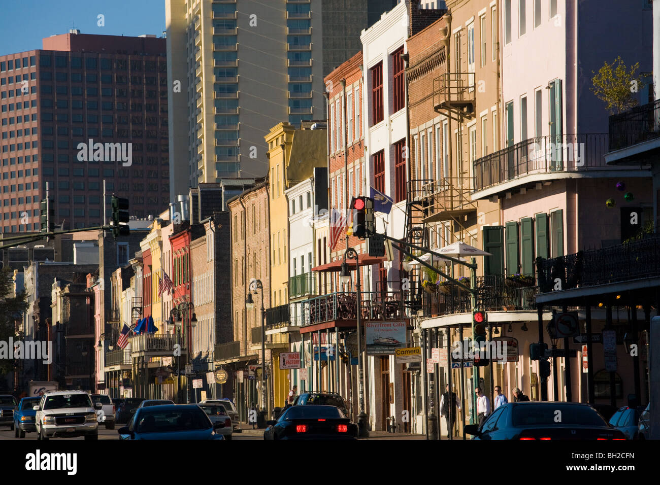 Building facades on Decatur Street French Quarter New Orleans, Louisiana - Stock Image