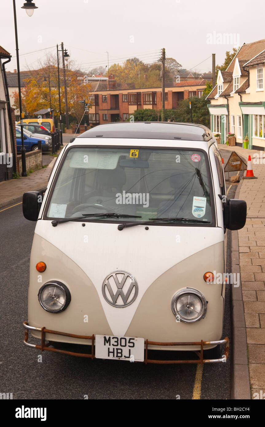 An old fashioned Campervan in Framlingham , Suffolk , England , Britain , Uk - Stock Image