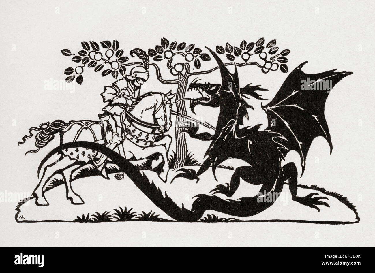 George and the Dragon. From the book English Fairy Tales retold by F.A. Steel - Stock Image