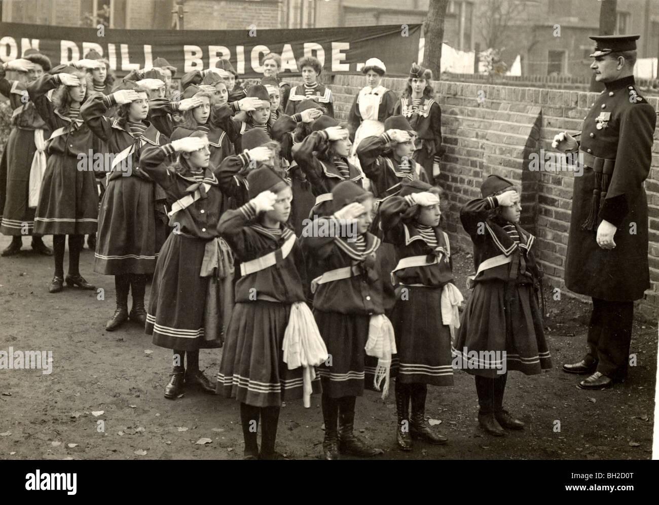 Girls Drill Brigade Saluting Commanding Officer - Stock Image