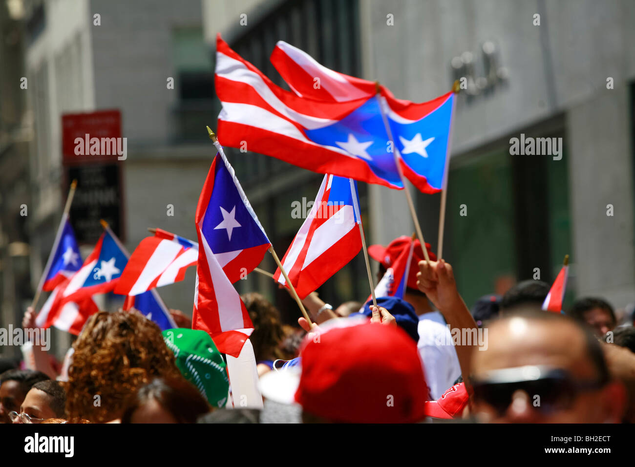 The Puerto Rican Day Parade takes place along Fifth Avenue in New York - Stock Image