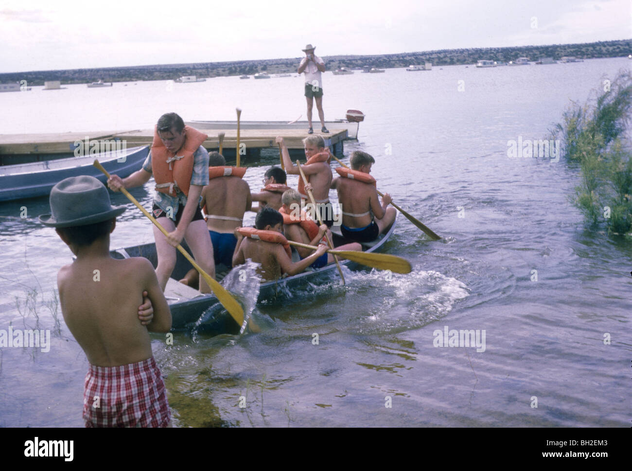 Disneyland vacation Kodachromes from 1962. childhood nostalgia boyscouts canoe canoeing merit badge sandia reservation - Stock Image