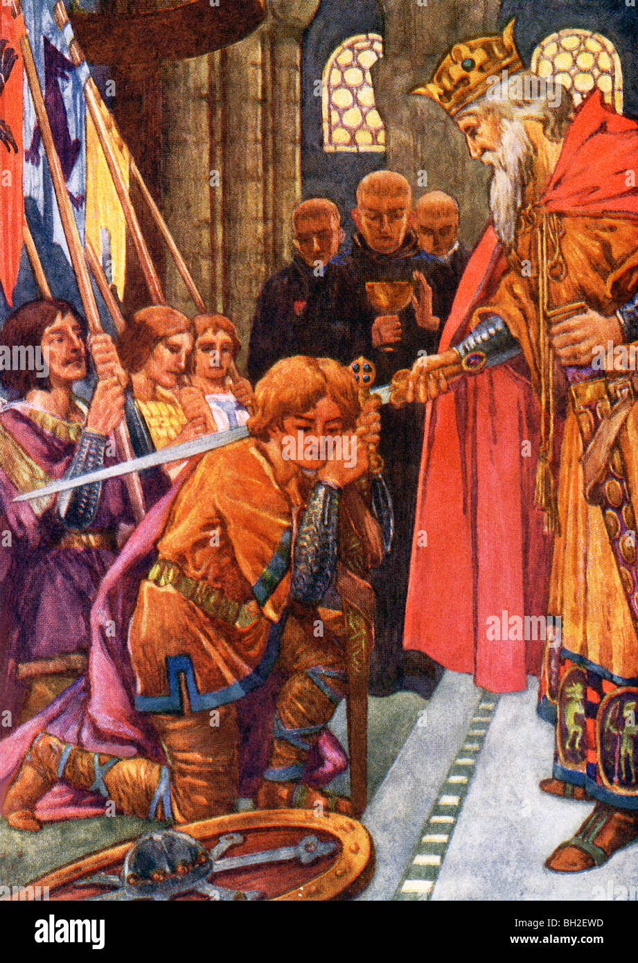 King Siegmund of the Netherlands is shown here knighting his son, Prince Siegfried, the famed hero of German mythology. - Stock Image