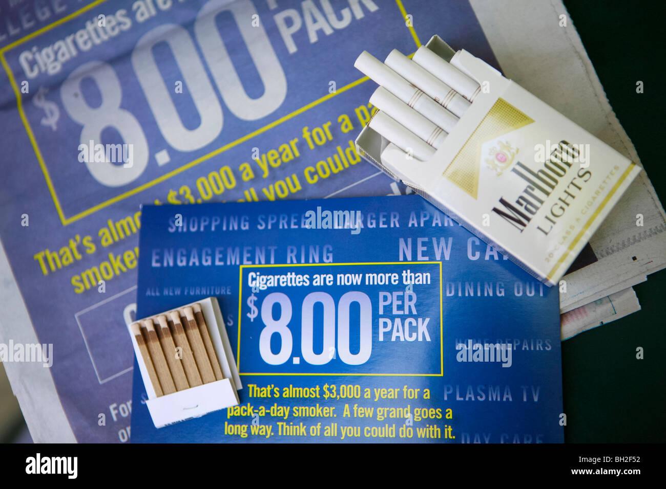 Marlboro cigarette and book of matches - Stock Image