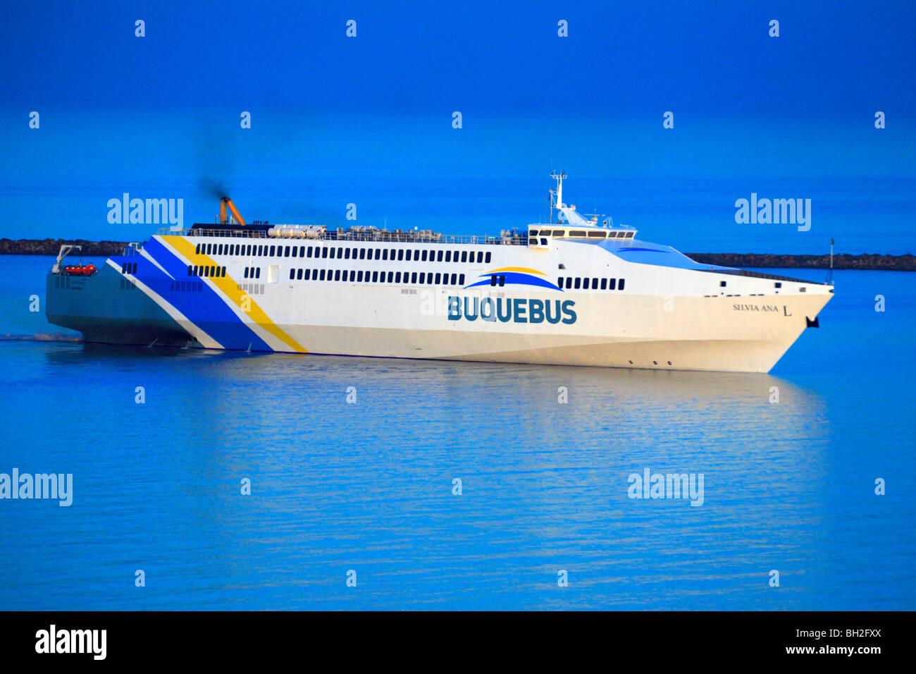 Buquebus ferry ship arriving to Colonia del sacramento coast. urugauy, south america - Stock Image