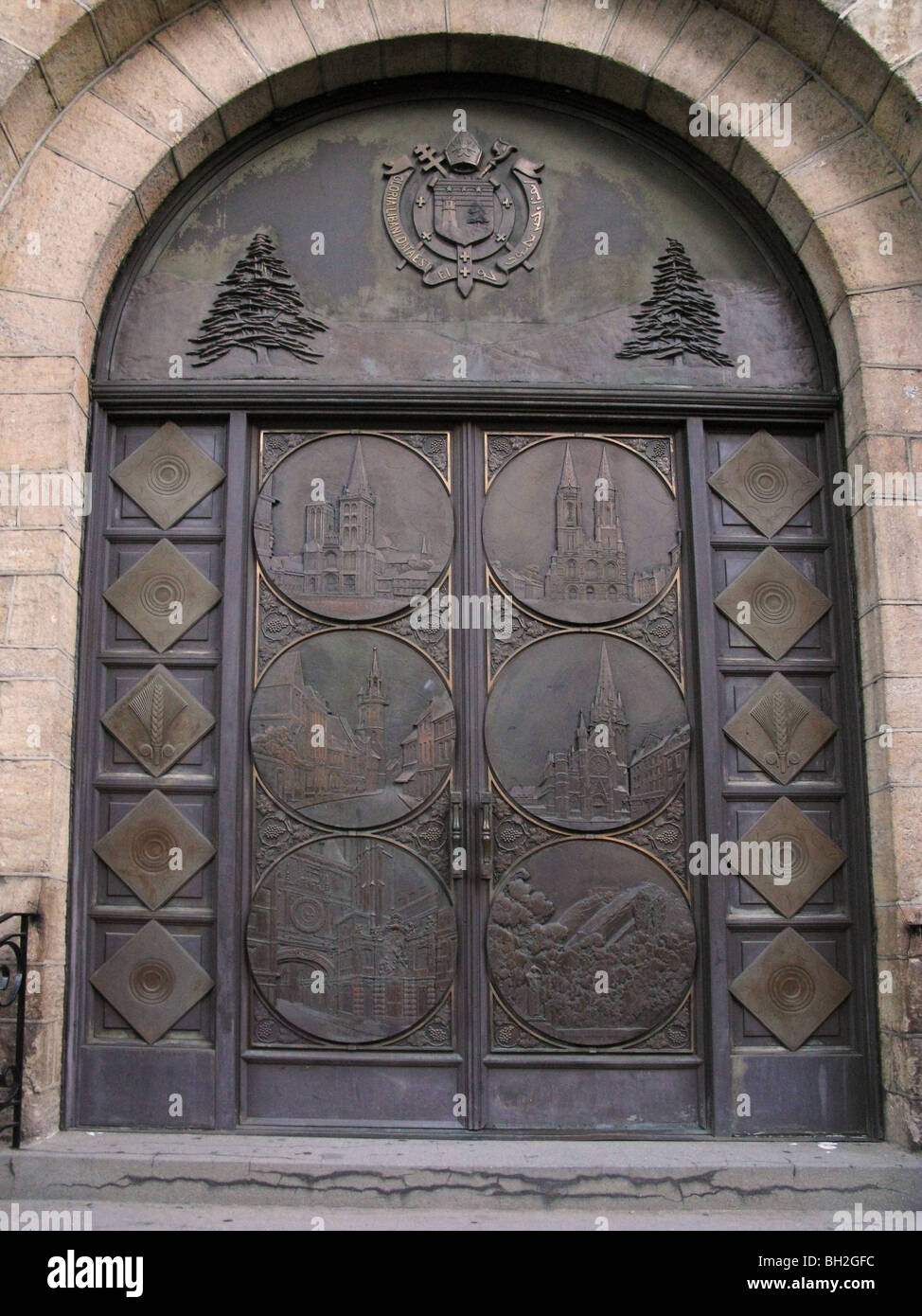 Bronze Medallions from Doors of the dining room SS Normandie now adorn Our Lady of Lebanon Roman Cathlic church Brooklyn NY & Bronze Medallions from Doors of the dining room SS Normandie now ...