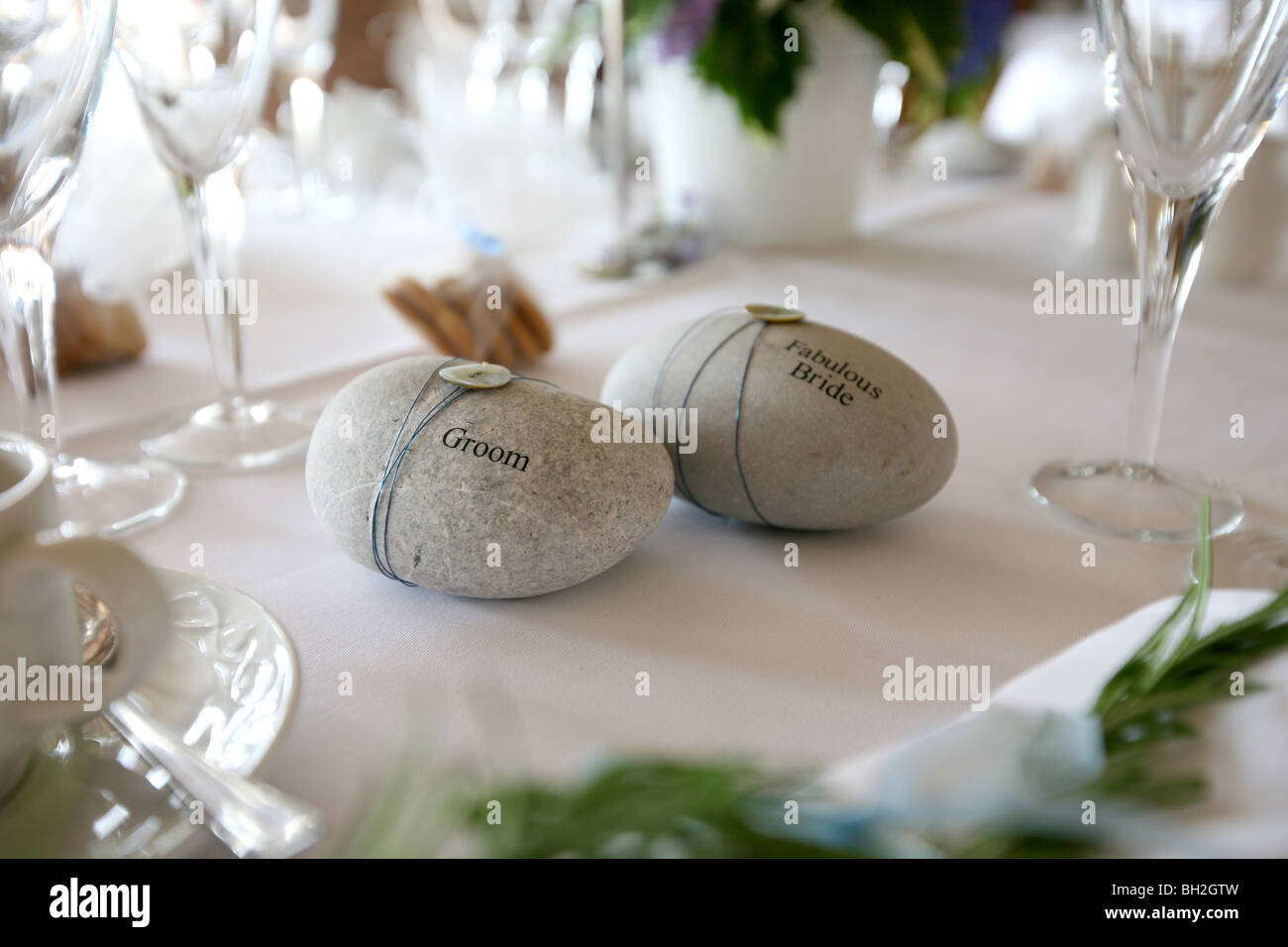 Wedding Stone Place Setting   Texts Reads U0027Groomu0027 And U0027Fabulous Brideu0027