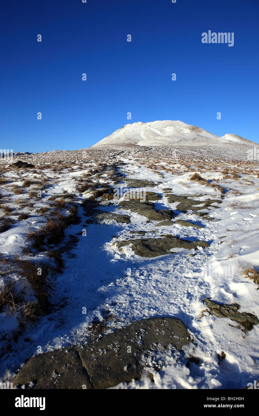 Snowy path up to the summit of Ben Lomond - Stock Image
