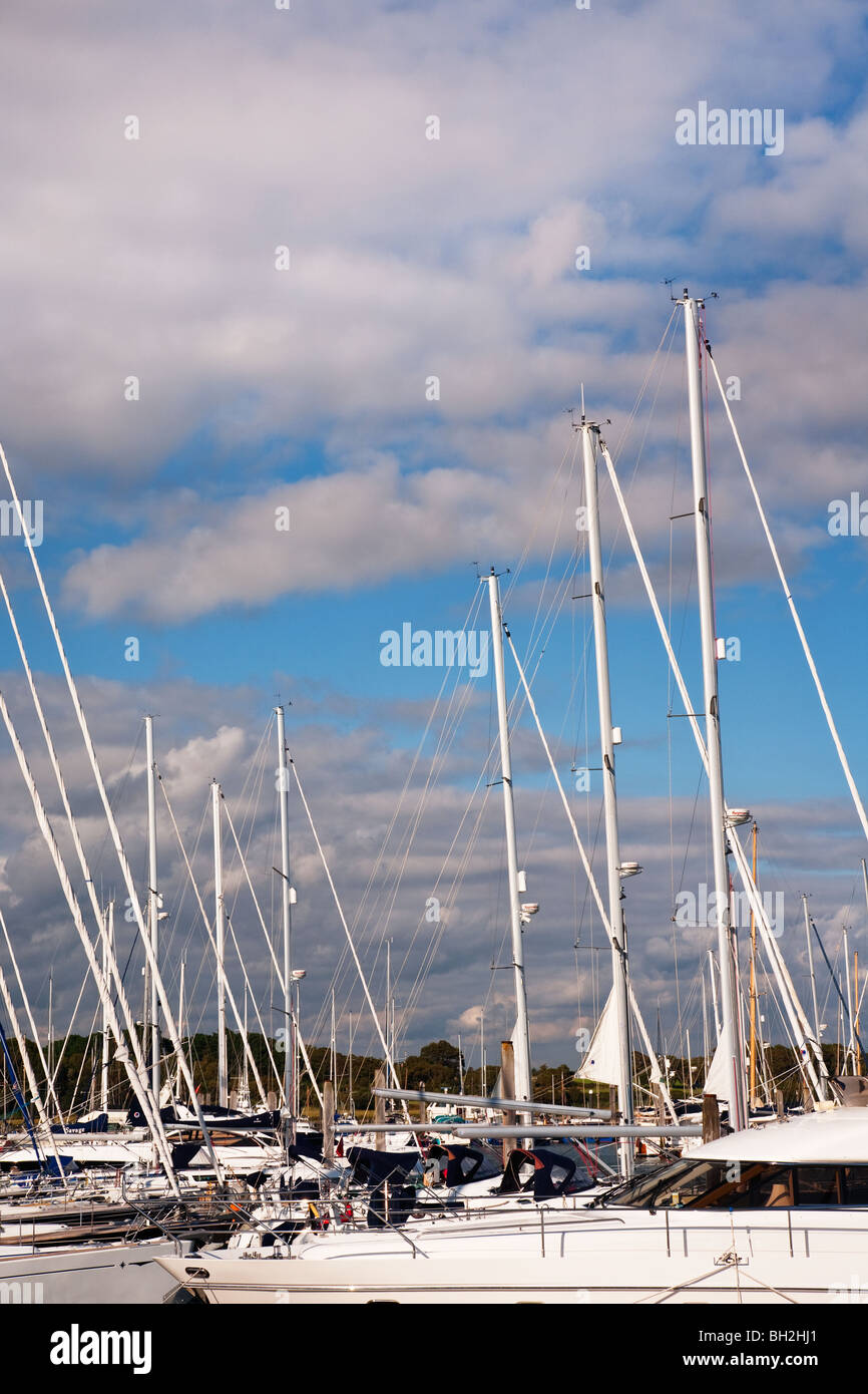Yachts and cruisers moored at Lymington - Stock Image