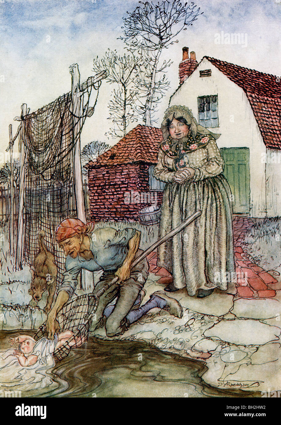 The Fish and the Ring. From the book English Fairy Tales retold by F.A. Steel with illustrations by Arthur Rackham Stock Photo