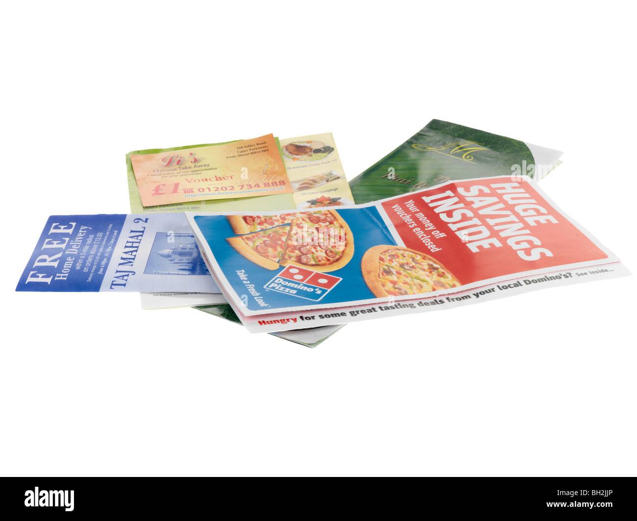 Takeaway Menus - Stock Image