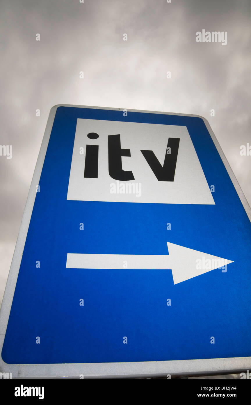 itv troubled broadcaster independent television british advertising budget budgets tv company companies exit stage - Stock Image