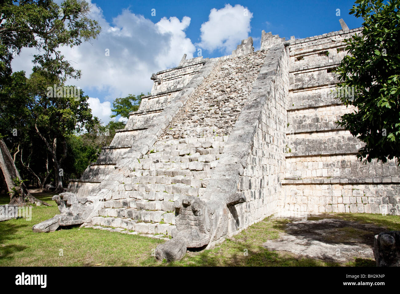 The Ossuary or Tomb Of The Great Priest, Chichen Itza Archaeological Site Yucatan Mexico. Stock Photo