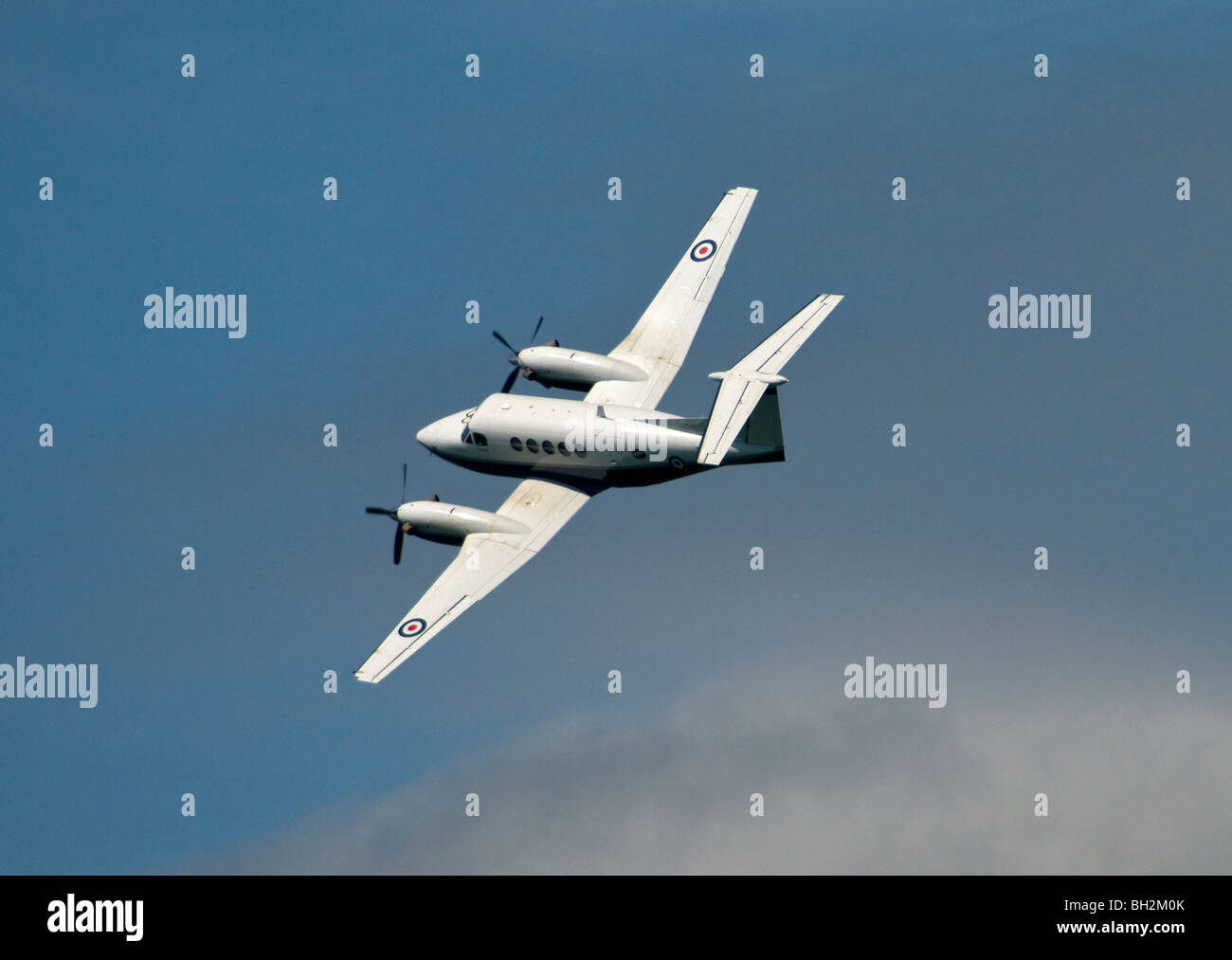The Beech King Air B200 is a twin engined turboprop, advanced pilot trainer used by RAF 45 squadron - Stock Image