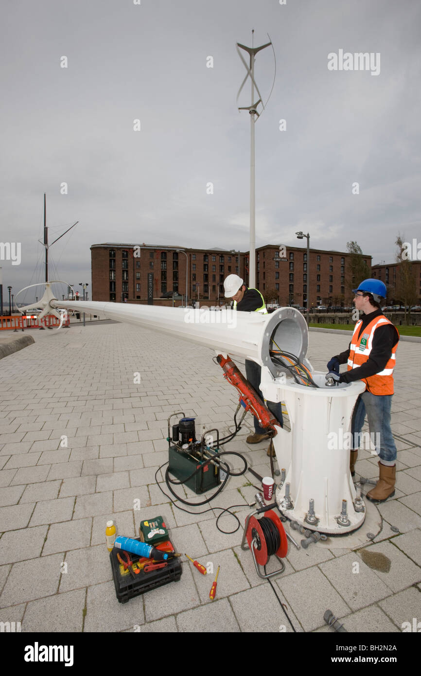 Servicing vertical axis wind turbines, Albert Dock, Liverpool - Stock Image