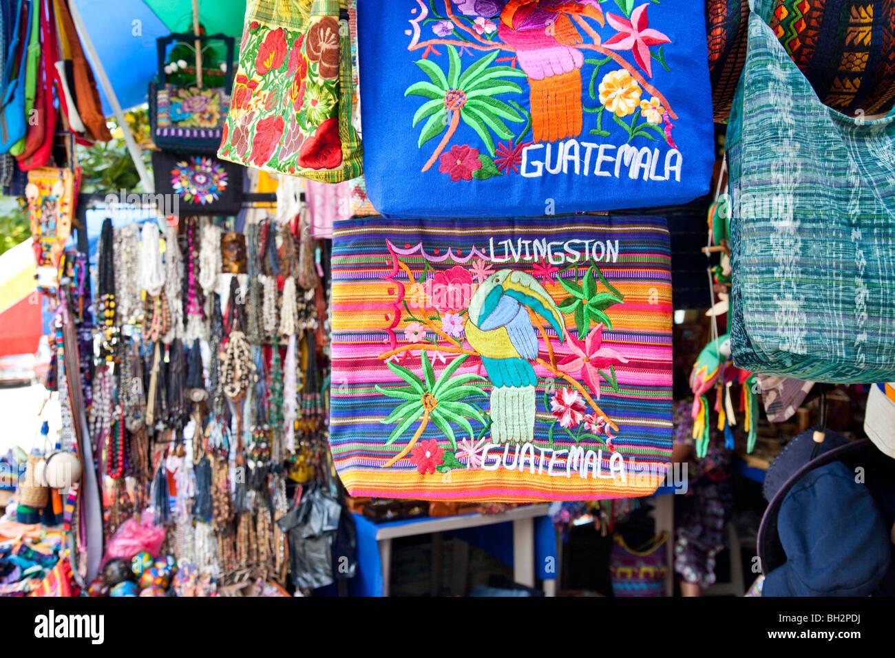 Souvenirs, Livingston, Guatemala. - Stock Image