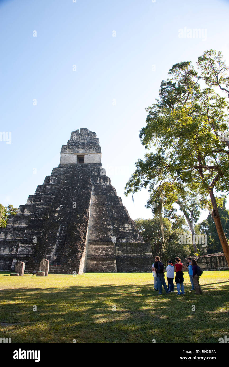 Temple I, Temple of the Great Jaguar construction at Tikal Archaeological Site. Guatemala. - Stock Image