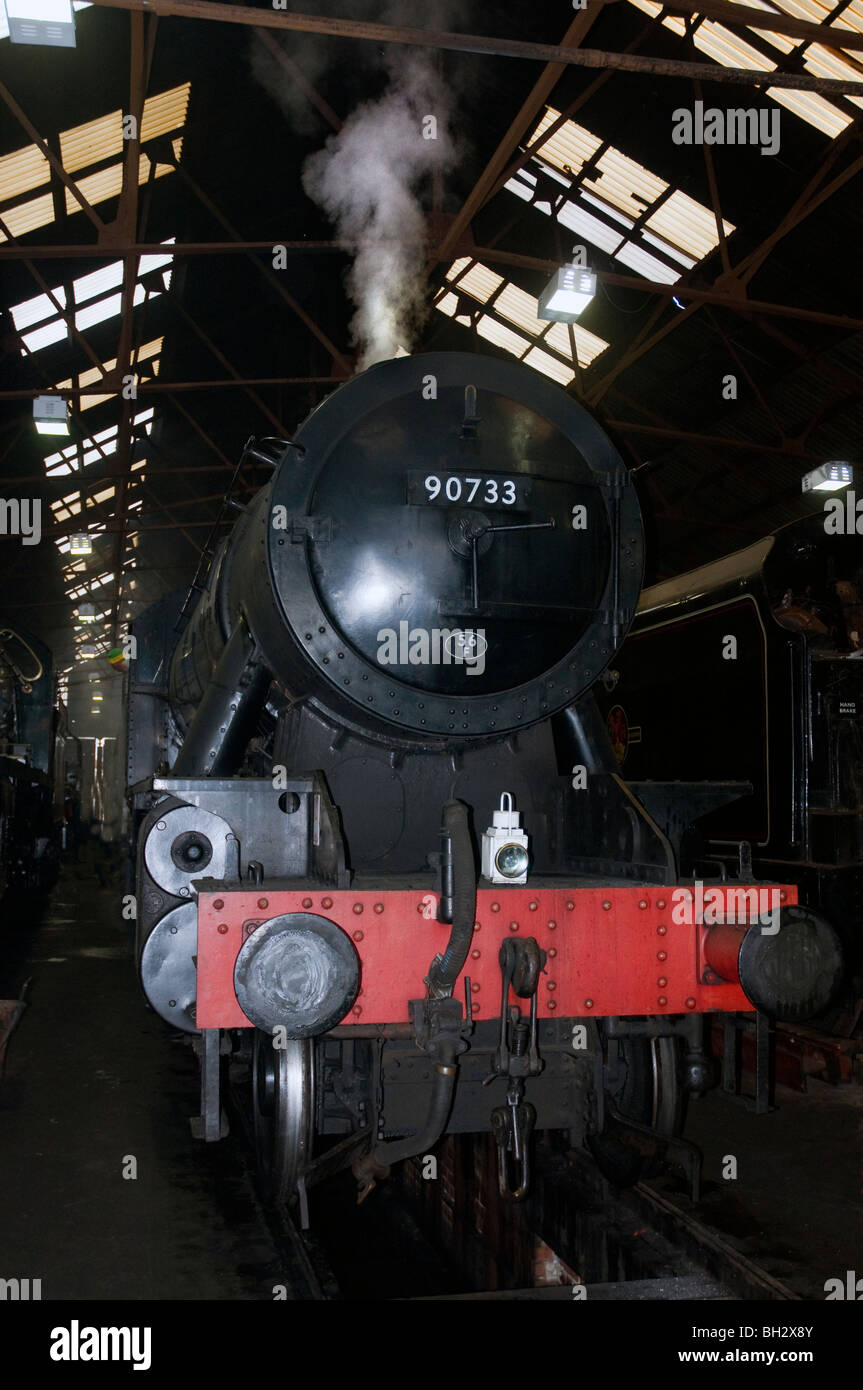 war department steam locomotive 2-8-0, class 9, number 90733, loughborough shed, great central railway, uk - Stock Image