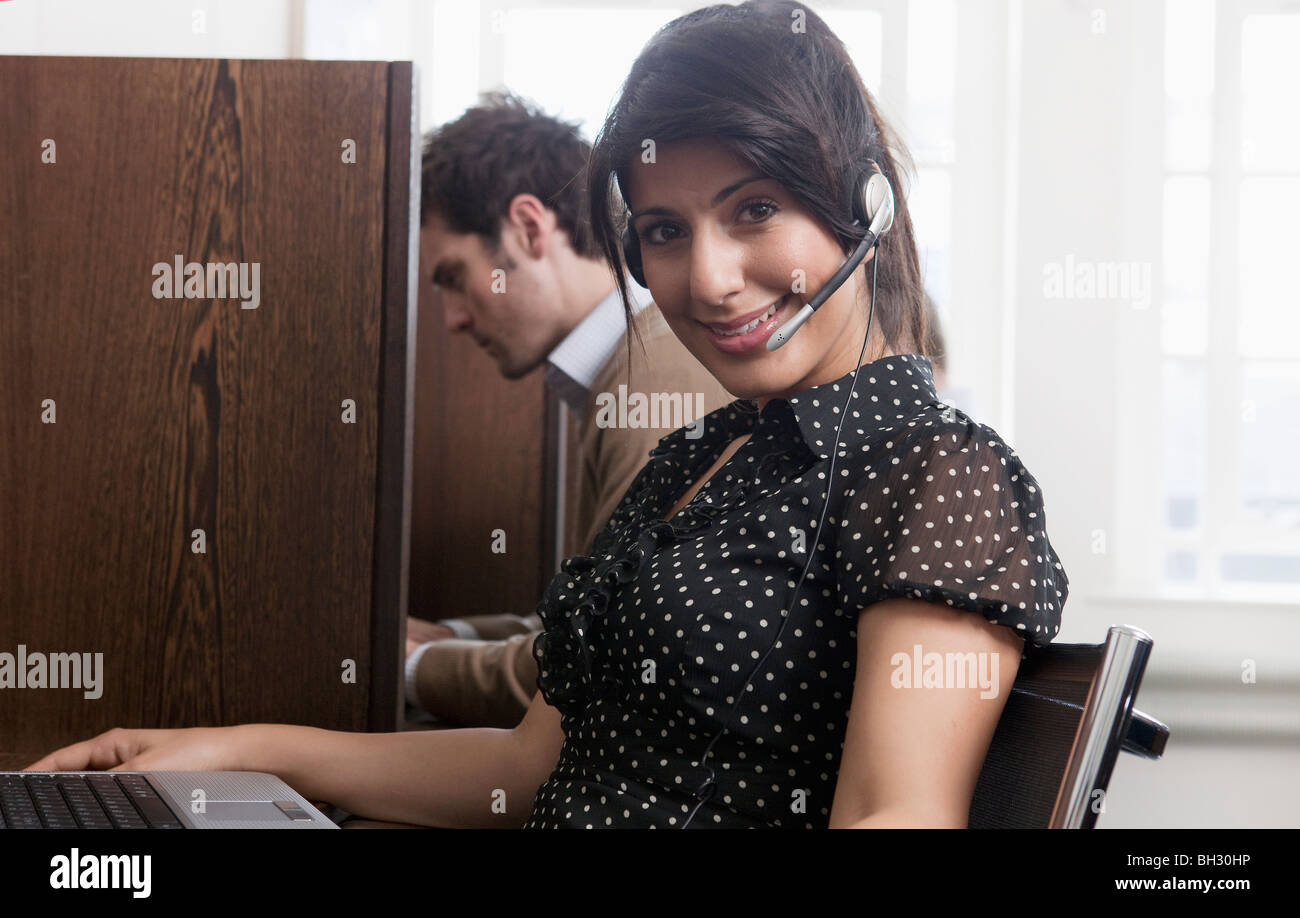 Portrait of call a call center operator - Stock Image