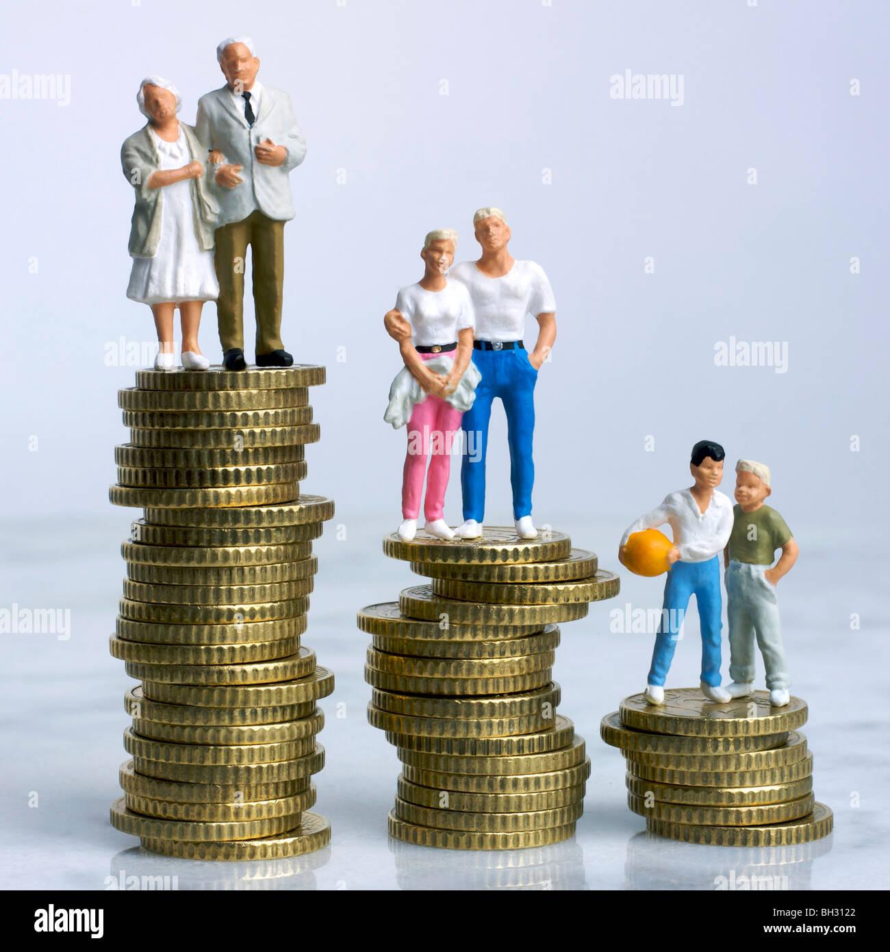 Family (Figurines) on money - finances / inheritance / budgeting / savings concept - Stock Image