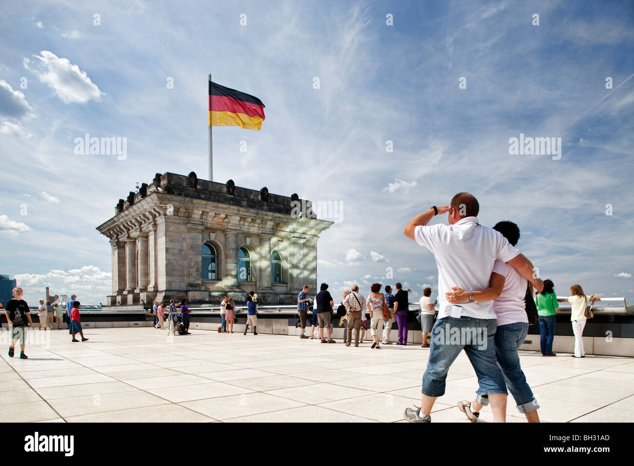 Visitors on the roof terrace of the Reichstag, Berlin, Germany - Stock Image