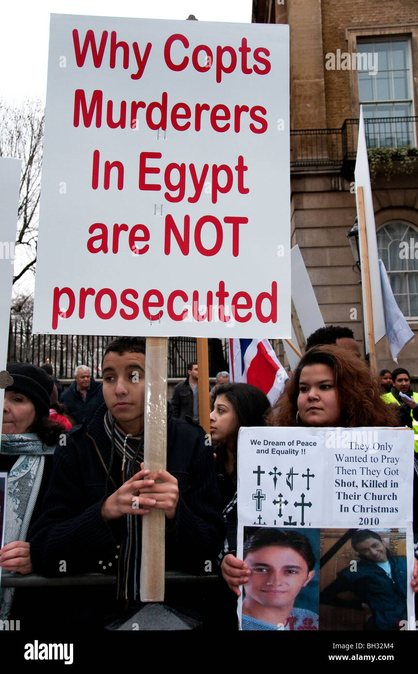 Egyptian Copts protest against an increase in Islamic persecution and attacks against the Christian minority. 23rd - Stock Image