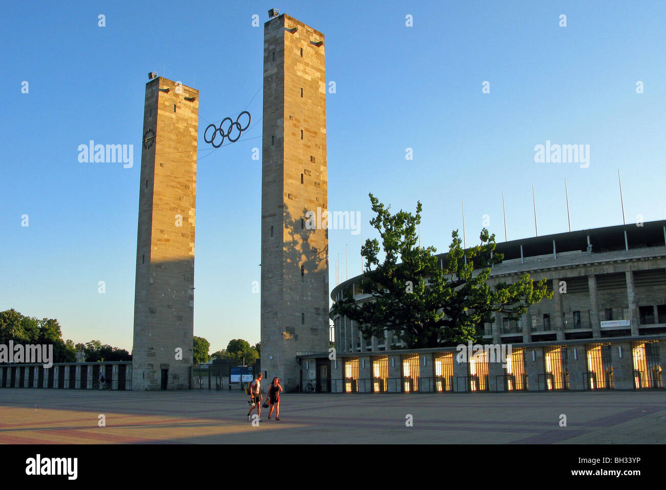 OLYMPIC STADIUM, OLYMPIASTADION BUILT FOR THE 1936 OLYMPIC GAMES, FASCIST ARCHITECTURE BY WERNER MARCH, BERLIN, - Stock Image