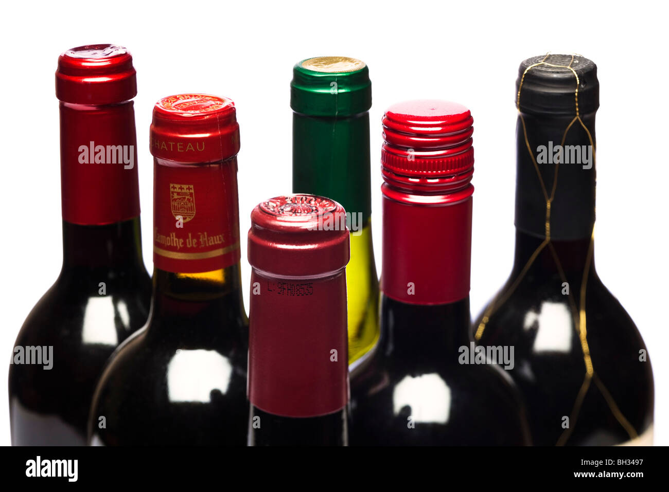 Group of red wine bottles - Stock Image