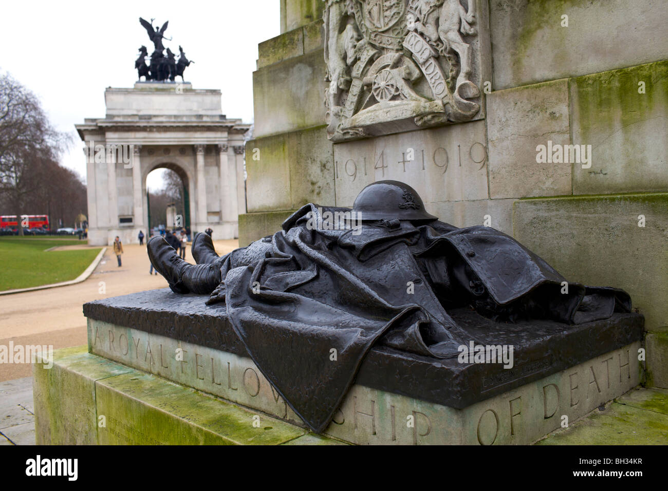 Detail from the Royal Artillery Memorial at Hyde Park Corner London designed by Charles Sargeant Jagger in 1925 - Stock Image