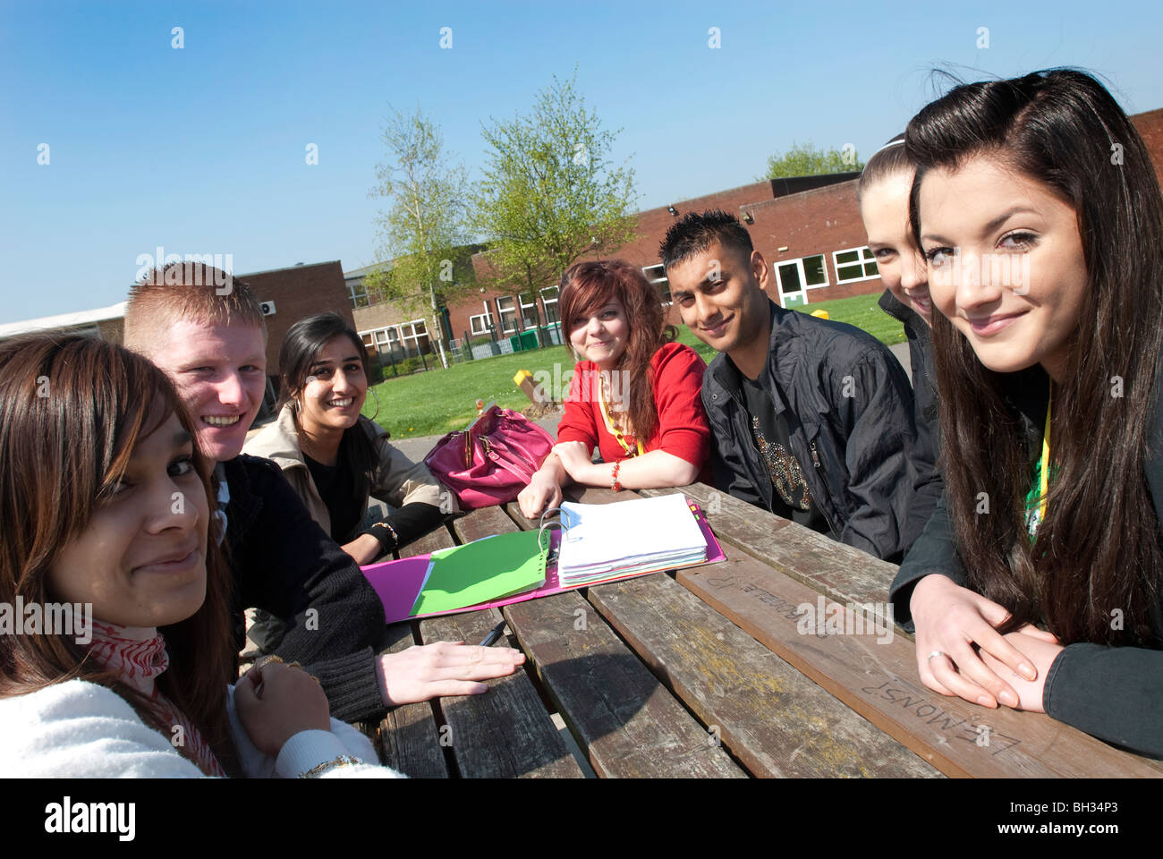 A group of students gather around a picnic table at lunch to work UK - Stock Image