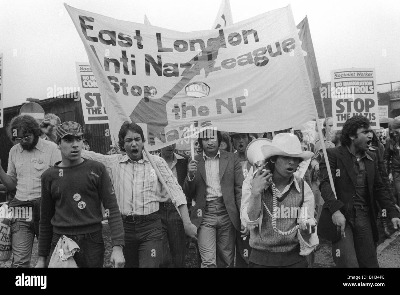 Anti Nazi League march through Tower Hamlets Stop the NF National Front East London UK 1978 HOMER SYKES - Stock Image