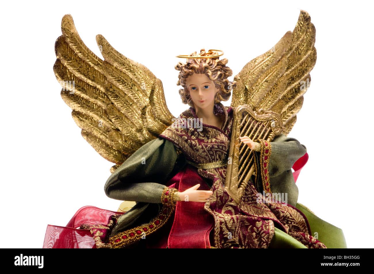 angel doll on white - Stock Image