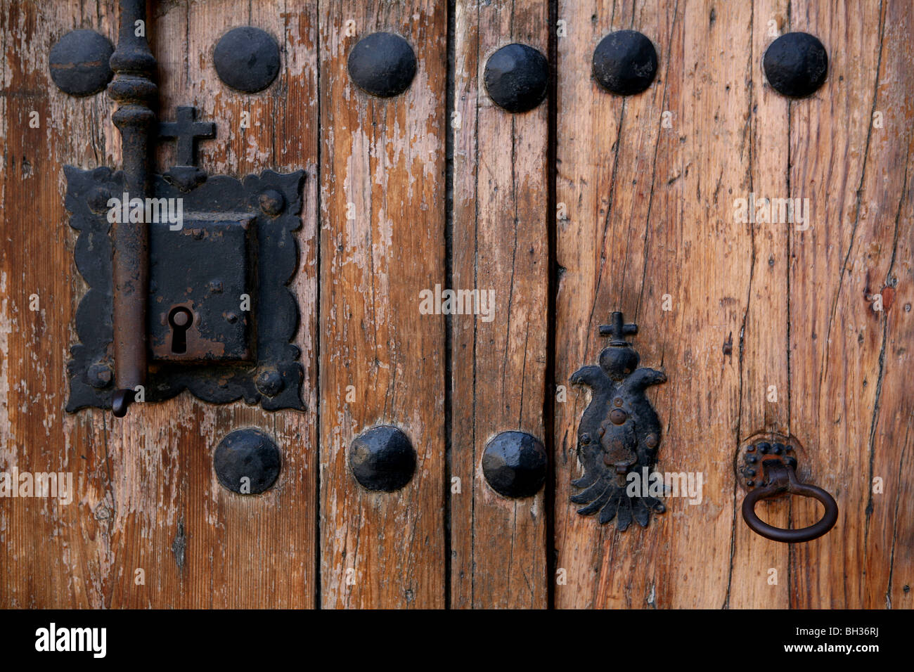 Europe, Spain, Canary Islands, Grand Canary, Las Palmas, Christopher Columbus House, particular door, lock, key - Stock Image
