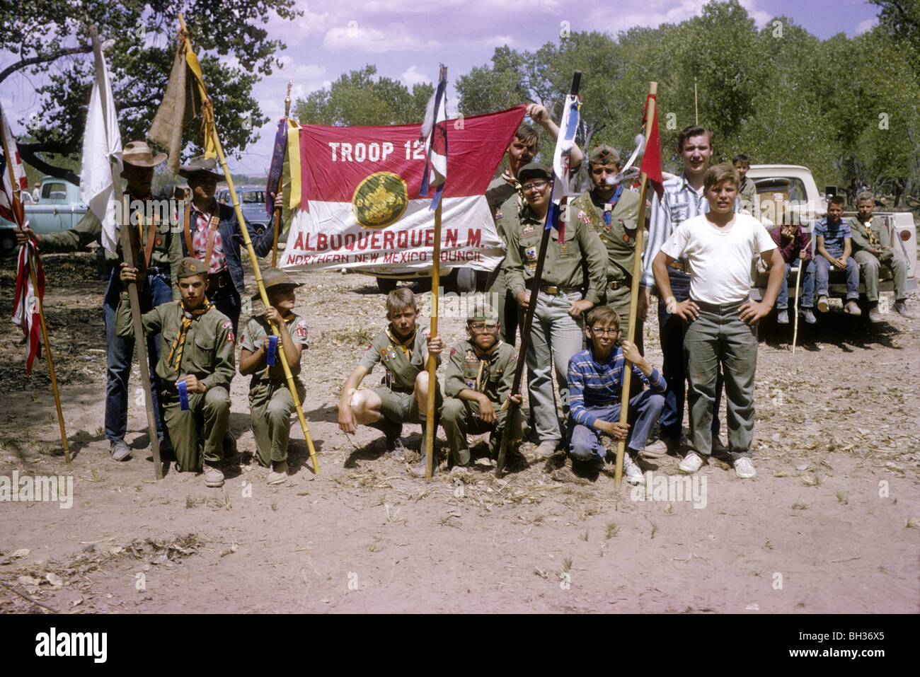 Boy Scout Troop 123 poses for a group photo during a 1965 Camporee at Sandia Reservation in New Mexico. - Stock Image