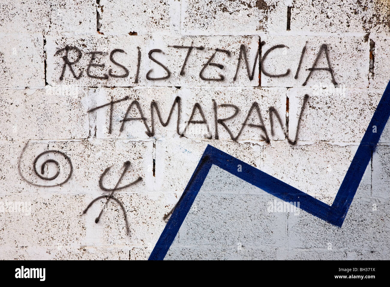 Independence graffiti on an old wall on Gran Canaria. This is about as visible as the tiny Canarian independence Stock Photo
