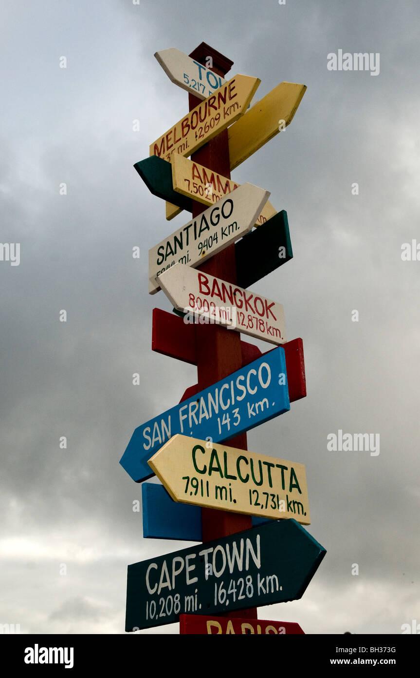 World distance sign post, Monterey, California, USA - Stock Image