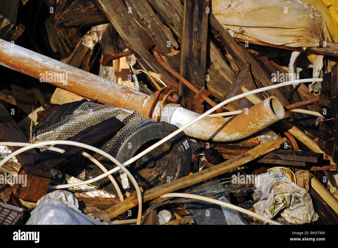rubbish left by fly tipping - Stock Image
