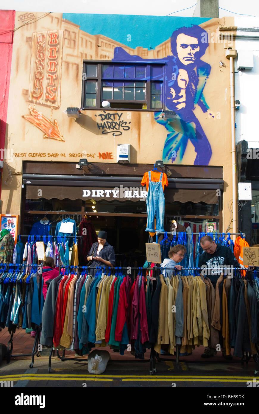 2nd hand clothing shop North Laine Brighton England UK Europe - Stock Image
