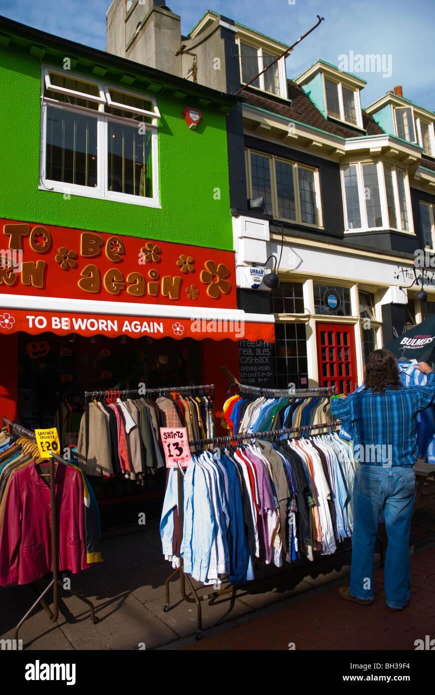 2nd hand clothes shop North Laine Brighton England UK Europe - Stock Image