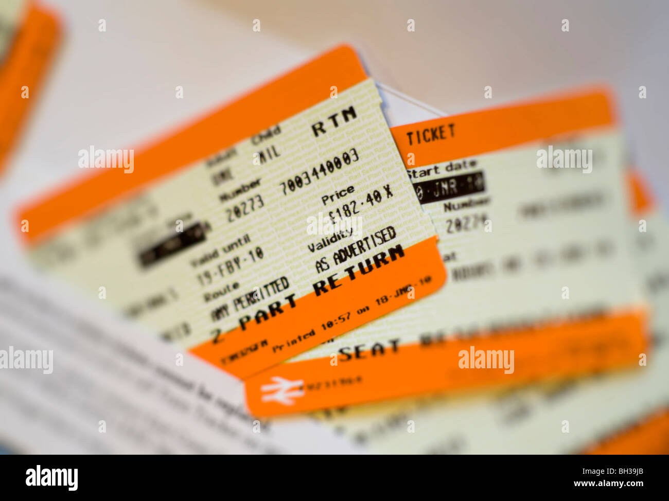 British railway return ticket from Scotland to London 2010 normal price with seat reservations - Stock Image