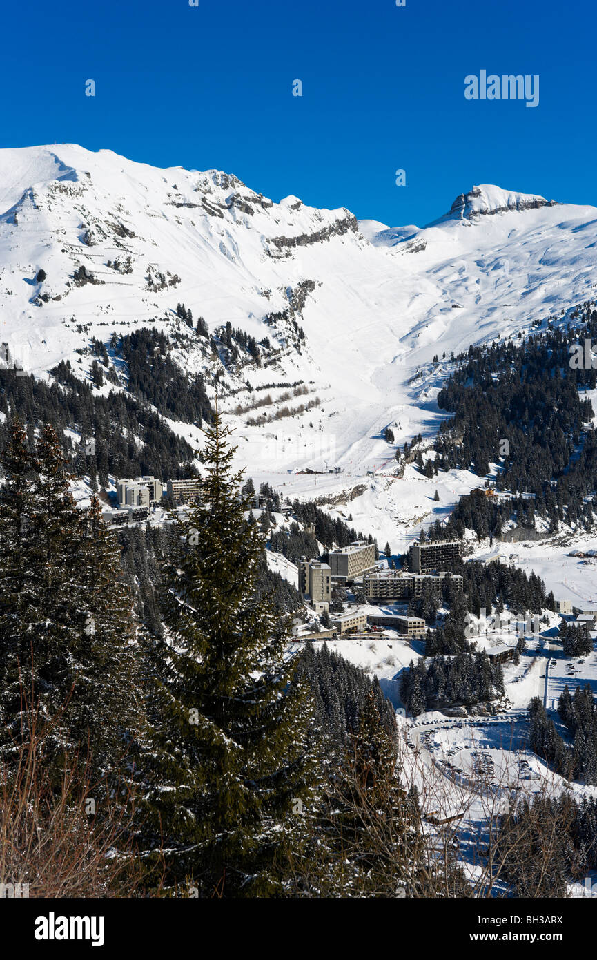 View over the purpose built resort of Flaine, Grand Massif Ski Region, Haute Savoie, France Stock Photo